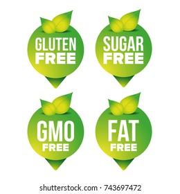 Gluten, sugar, fat, gmo free pointer vector set