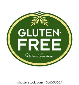 Gluten-Free Natural Goodness Logo. Graphic Oval Typographic Icon. Fully editable vector illustration for web, print and food packaging.
