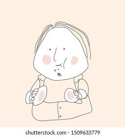 glutton eats on both cheeks. cartoon image.