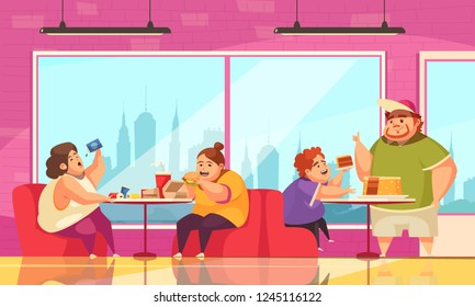 Gluttony and cafe background with people overeating symbols flat vector illustration
