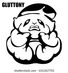gluttony. hand drawn vector monochrome outline cartoon character illustration with white background