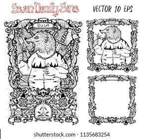 Gluttony. Latin word Gula means Overweight or Obesity. Seven deadly sins concept, black and white vector set with frame. Hand drawn engraved illustration, tattoo and t-shirt design, religious symbol