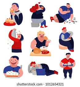 Gluttony over-consumption of food and drink flat icons collection with overweight eating people isolated vector illustration