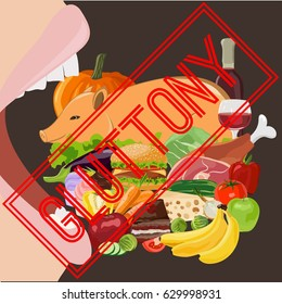 Gluttony. Seven deadly sins. Bible. Vector illustration