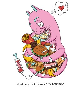 Gluttony. vector art with creepy pink cat. More food