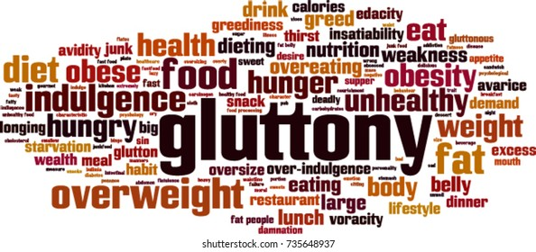 Gluttony word cloud concept. Vector illustration
