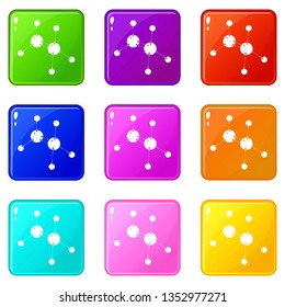 Glycine icons set 9 color collection isolated on white for any design