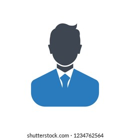Glyph businessman icon, avatar symbol - Blue