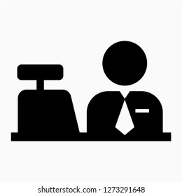Glyph cashier pixel perfect vector icon