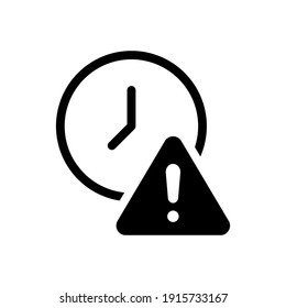 Glyph Expiry icon. Simple solid style for web and app. Alert, alarm, clock circular with exclamation mark concept. Vector illustration isolated on white background. EPS 10