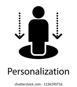 Glyph human standing on a stage with arrows pointing down, making an icon for personalization