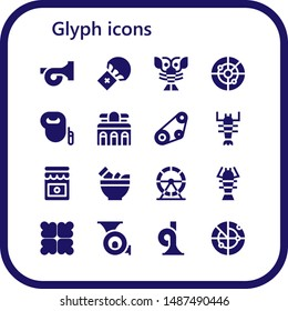 glyph icon set. 16 filled glyph icons.  Collection Of - French horn, Parachute, Lobster, Radar, Leash dog, Museum, Timing belt, Jam, Mortar, Hamster wheel, Reduce