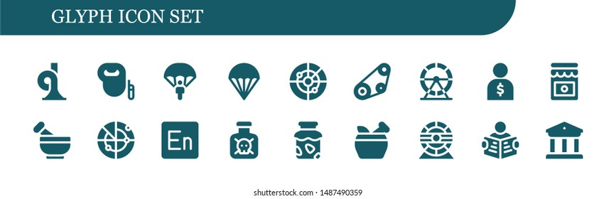 glyph icon set. 18 filled glyph icons.  Collection Of - French horn, Leash dog, Parachute, Radar, Timing belt, Hamster wheel, Salesman, Jam, Mortar, Encore, Toxic, Read, Museum