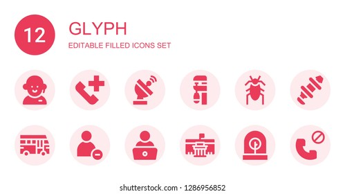glyph icon set. Collection of 12 filled glyph icons included Customer service, Phone call, Radar, Clamp, Cockroach, School bus, Reduce, Read, Museum, Incubator, Hub