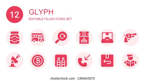 glyph icon set. Collection of 12 filled glyph icons included Jam, School bus, Reload, Influencer, Radar, Baht, Minibar, Phone call, Return, Pistol, Reading