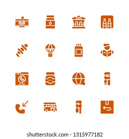 glyph icon set. Collection of 16 filled glyph icons included Return, Clamp, School bus, Phone call, Customer service, Jam, Reading, Paint can, Parachute, Hub, Minibar, Museum