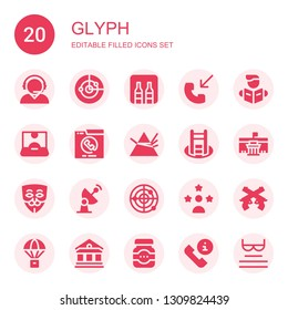 glyph icon set. Collection of 20 filled glyph icons included Customer service, Radar, Minibar, Phone call, Reading, Influencer, Dispersion, Shortcut, Museum, Anonymous, Pistol