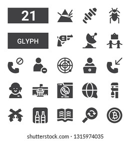 glyph icon set. Collection of 21 filled glyph icons included Baht, Reload, Read, Minibar, Pistol, Clamp, Customer service, Phone call, Museum, Radar, Reduce, Cockroach, Hub, Dispersion