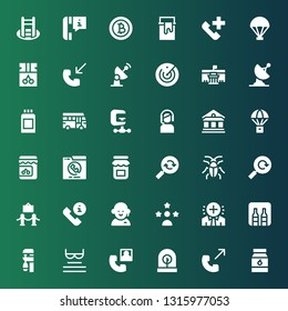 glyph icon set. Collection of 36 filled glyph icons included Jam, Phone call, Incubator, Read, Clamp, Minibar, Positive, Influencer, Customer service, Museum, Reload, Cockroach