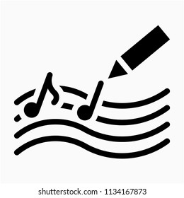 Glyph Song composer pixel perfect vector icon