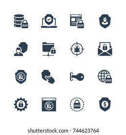 Glyph style icon set. Icons for web, data, personal and other protection and security