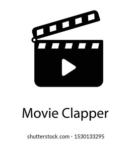 Glyph vector of clapperboard icon