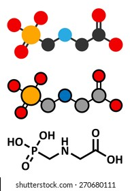 Glyphosate herbicide molecule. Crops resistant to glyphosate (genetically modified organisms, GMO) have been produced by genetic engineering. Stylized 2D renderings and conventional skeletal formula.