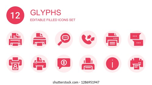 glyphs icon set. Collection of 12 filled glyphs icons included Printer, Conversation, Information