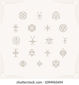 Glyphs inspired by astronomy, sacred geometry, and by many ancient symbols from various ancient civilizations from all over the world and beyond. Use in photo overlays, collages, logo design.