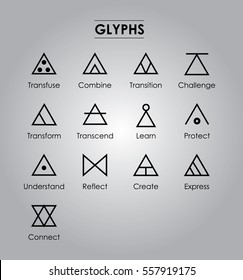 Glyphs,Sign of life,transfuse,combine,transition,challenge,transform,transcend,learn, protect,understand,reflect,create,express,connect