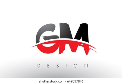 GM G M Brush Logo Letters Design with Red and Black Colors and Brush Letter Concept.