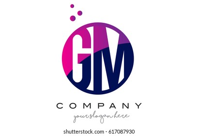 GM G M Circle Letter Logo Design with Purple Magenta Dots Bubbles Vector Illustration