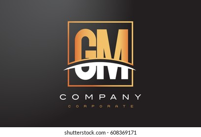 GM G M Golden Letter Logo Design with Swoosh and Rectangle Square Box Vector Design.