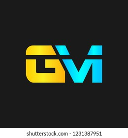 GM or G M letter alphabet logo design in vector format.