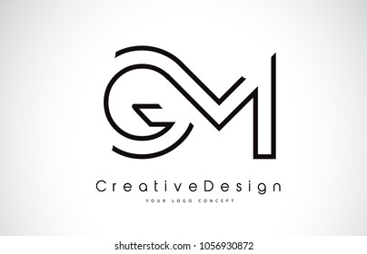 GM G M Letter Logo Design in Black Colors. Creative Modern Letters Vector Icon Logo Illustration.