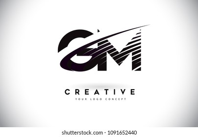 GM G M Letter Logo Design with Swoosh and Black Lines. Modern Creative zebra lines Letters Vector Logo