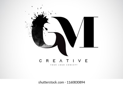 GM G M Letter Logo Design with Black Ink Watercolor Splash Spill Vector Illustration.