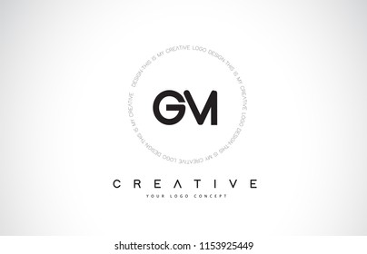 GM G M Logo Design with Black and White Creative Icon Text Letter Vector.