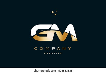 gm g m  white yellow gold golden metal metallic luxury alphabet company letter logo design vector icon template