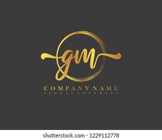 GM initial handwriting logo circle template vector
