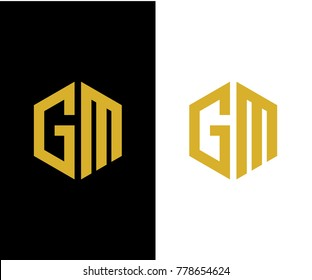 GM initial hexagon icon. letter. logo vector eps 10