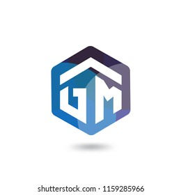 GM Initial letter hexagonal logo vector template