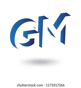 GM initial letter with negative space logo icon vector template