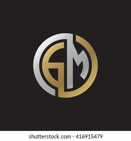 GM initial letters loop linked circle elegant logo golden silver black background