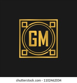 GM initial logo. Luxury ornament crown logo.