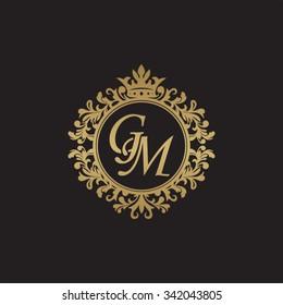 GM initial luxury ornament monogram logo