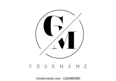 GM Letter Logo with Cutted and Intersected Design and Round Frame Vector Illustration