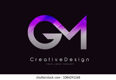GM Letter Logo Design in Purple Texture Colors. Creative Modern Letters Vector Icon Logo Illustration.