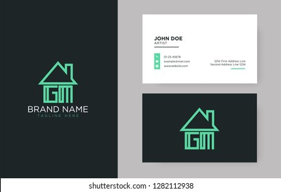 GM Letter Real Estate Logo Design - Real estate logo