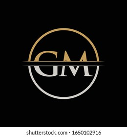 GM letter Type Logo Design vector Template. Initial Letter GM logo Design